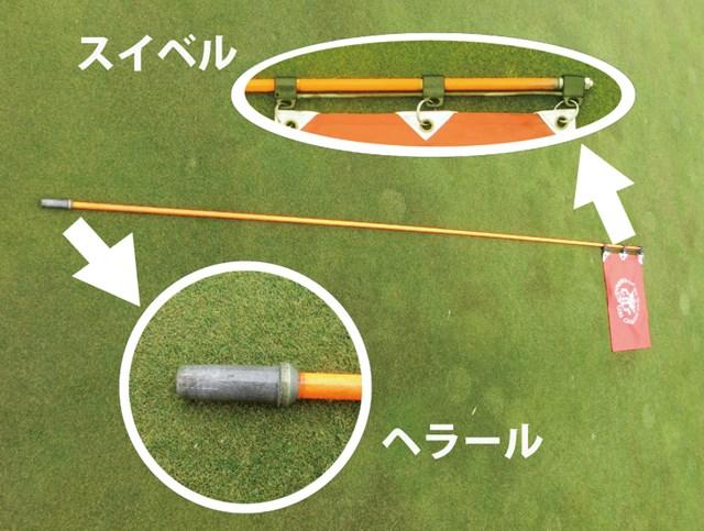 """旗と竿がつながっている部分を""""スイベル""""(""""回転""""の意)、竿の下方の、カップに刺さる部分を""""ヘラール""""と呼ぶ。"""