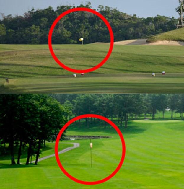 コースにより旗や吹き流しなどタイプはさまざま(※画像は別のゴルフ場です)