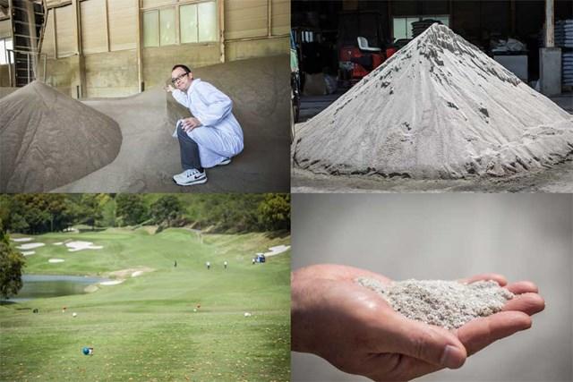 (左上)他の植物の混入防止のため、機械でグリーン用の砂を焼き、ふるいにかける/(右上)富里GCではバンカー用に愛知産の砂を使用/(左下)ティーインググラウンドはUSGA方式で平らに造成可能に/(右下)粒形が揃っている砂は、サラサラとしていて、握ると「キュッキュッ」と音が鳴る