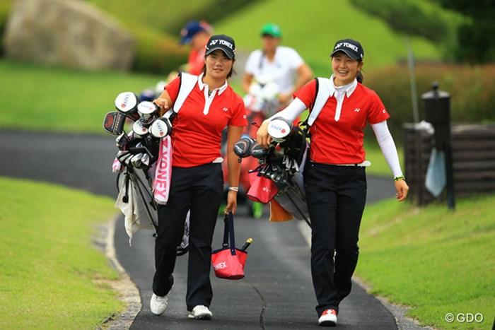 この2人はいつも一緒。本当に仲良しですねぇ トヨタジュニアゴルフワールドカップ2015 最終日 松原由美 蛭田みな美