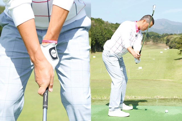 ウィークグリップは右手が大きくかぶってしまうのが問題。テークバックは関節の向きに従って強いアップライトになる