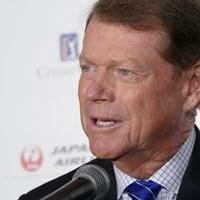 PGAチャンピオンズツアーの日本初開催を発表する記者会見。トム・ワトソンが出席し、選手としての再訪を喜んだ 2017年 JAL選手権 事前 トム・ワトソン