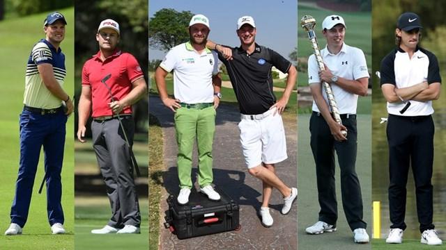 左から: ダニー・ウィレット、ティレル・ハットン、アンディ・サリバンとクリス・ウッド、マシュー・フィッツパトリック、トミー・フリートウッド(Golf World)