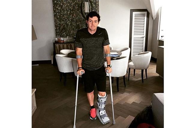 サッカーでじん帯を断裂したマキロイ。それ以後メジャー優勝から遠ざかっている(Rory McIlroy/Instagram)