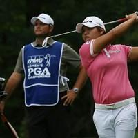1ホールを翌日に持ち越した野村敏京は淡々としていた 2017年 KPMG女子PGA選手権 初日 野村敏京