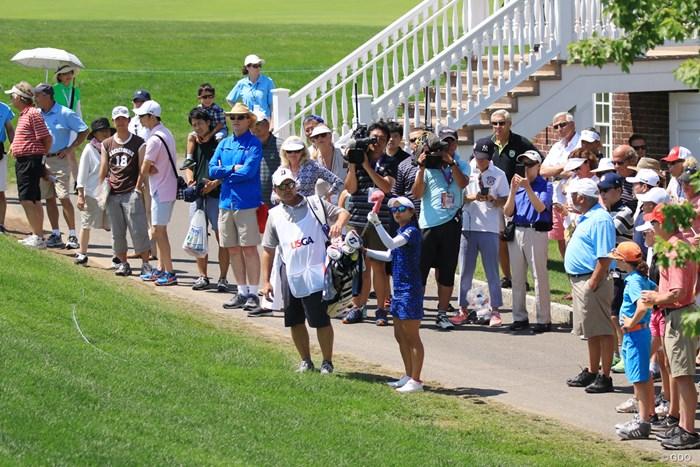 15番でティショットを左に曲げた宮里藍 2017年 全米女子オープン 最終日 宮里藍