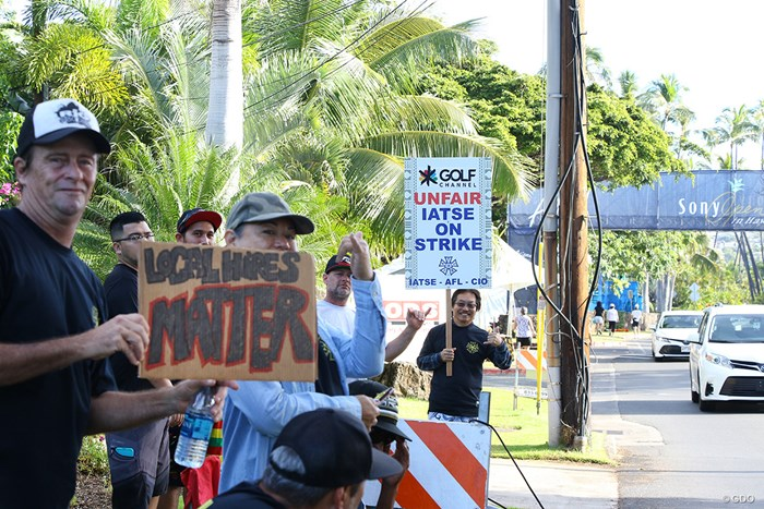 会場周辺ではスタッフによるデモが起きた 2018年 ソニーオープンinハワイ 最終日 デモ