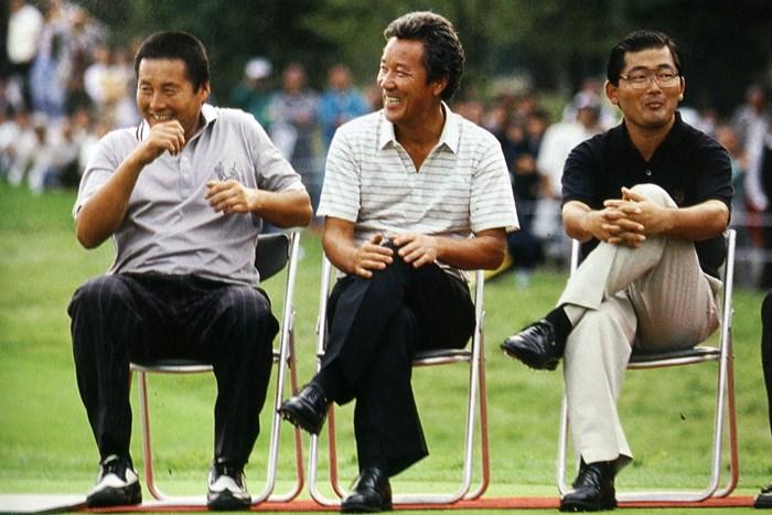 1988年の日本オープン表彰式。AONが並んだ ※画像資料提供・日本ゴルフ協会 尾崎将司 青木功 中嶋常幸