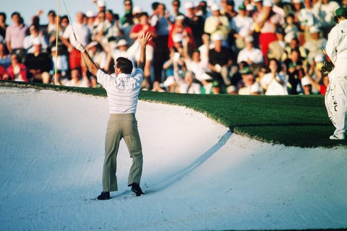 1986年のマスターズで、中嶋常幸は8位に入った(Augusta National/Getty Images) 1986年 マスターズ 中嶋常幸