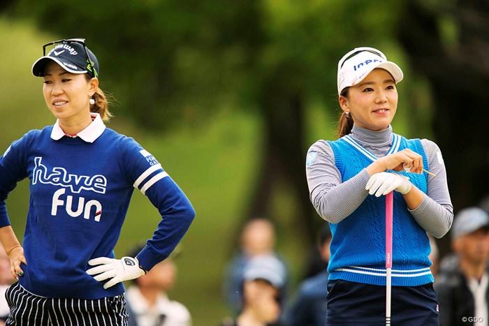 青で揃いましたね、先輩。 2018年 KKT杯バンテリンレディスオープン 2日目 上田桃子 有村智恵