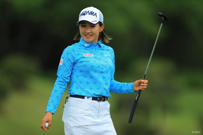 最終18番バーディで首位タイに。 2018年 サイバーエージェント レディスゴルフトーナメント 初日 永井花奈
