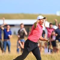 マキロイはイーグルパットを決めて雄叫びを上げた 2018年 全英オープン 最終日 ロリー・マキロイ
