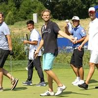 谷原秀人はアスリートチームでプロアマ。テニスのノバチェク(左)、ホッケーのフュルスト(中)、ハンドボールのヘンス(右)と回った 2018年 ポルシェ ヨーロピアンオープン 事前 谷原秀人