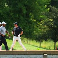この3人の雰囲気いいよね 2018年 全米プロゴルフ選手権 2日目 タイガー・ウッズ ロリー・マキロイ ジャスティン・トーマス