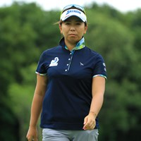 カメラに向かって「私、笑ったりしませんから。」と、この表情。だから弓美子ちゃん、怖すぎますって! 2018年 ニトリレディスゴルフトーナメント 3日目 吉田弓美子