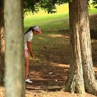 最終ホールで林の中はきついな~ 2018年 ゴルフ5レディス プロゴルフトーナメント 初日 菊地絵理香