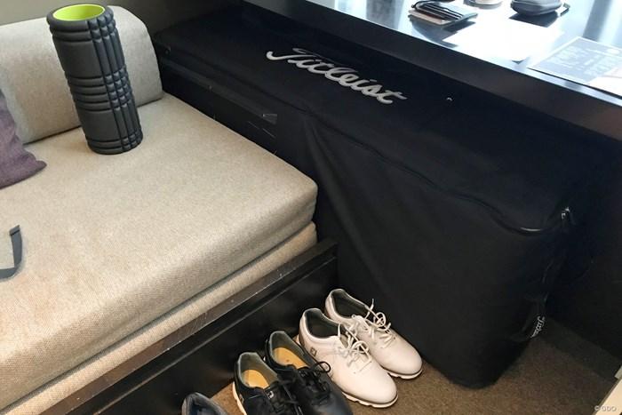 奥にあるタイトリストのキャディバッグ用のバッグ。この中に靴も入ります ゴルフバッグ