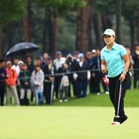 3連覇に向けてガッツポーズ 2018年 日本女子オープンゴルフ選手権競技 最終日 畑岡奈紗