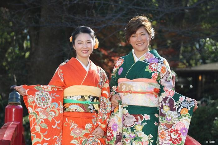 笑顔で2019年の目標を語った菊地絵理香(左)と成田美寿々 2019年 菊地絵理香 成田美寿々