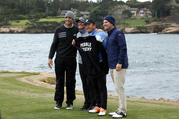 チェ・ホソンはジェリー・ケリー(左から2番目)、NFLのスターであるアーロン・ロジャース(左)、俳優のクリス・オドネルと3日間プレーした 2019年 AT&Tペブルビーチプロアマ 3日目 ジェリー・ケリー&チェ・ホソン