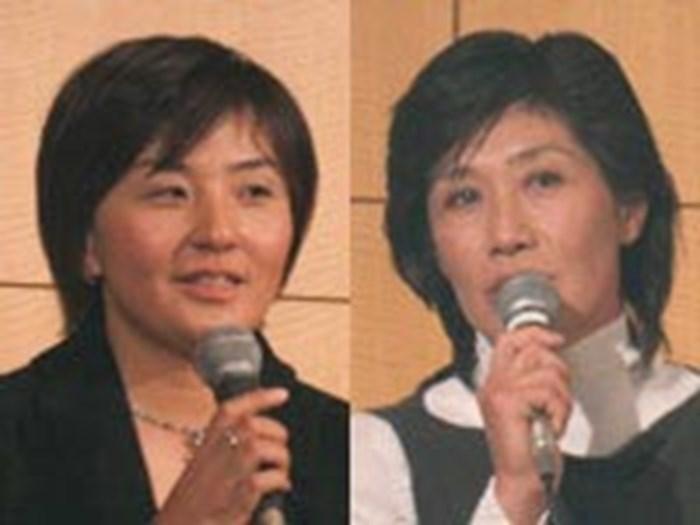 来年への抱負を語った茂木宏美(左)、塩谷育代(右) 2005年 ブリヂストン エピキュール懇親会 茂木宏美 塩谷育代