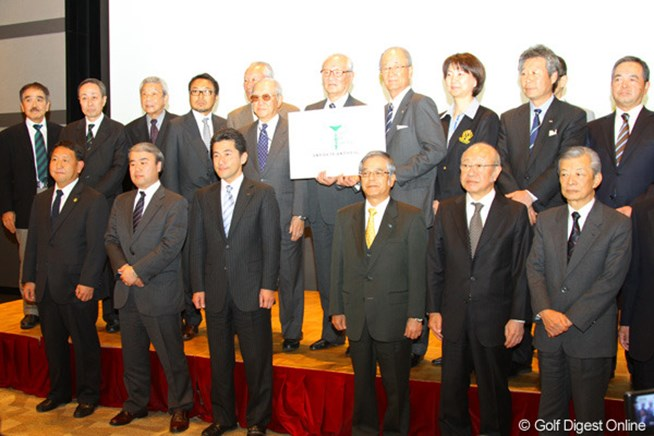 日本ゴルフ界合同で行われた記者発表に、2