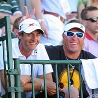 予選落ちしたけれど、最前列で観戦中。 2013年 ウェイストマネジメント フェニックスオープン 3日目 ニコラス・コルサート